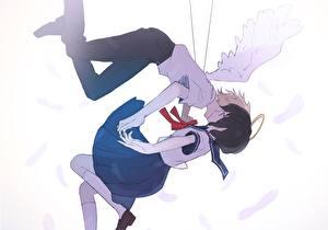 Tapety na pulpit Anioły Nastolatek Skrzydła Uczennica gomi chiri Anime Dziewczyny