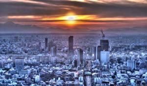 壁纸、、日本、建物、超高層建築物、朝焼けと日没、山、東京都、メガロポリス、太陽、都市