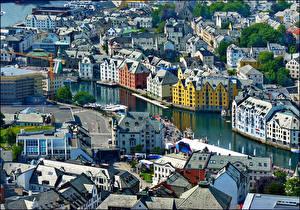 Image Norway Houses Rivers Alesund Cities