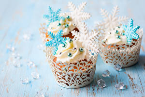 Hintergrundbilder Törtchen Neujahr Großansicht Süßigkeiten Schneeflocken das Essen