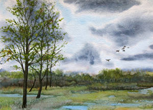 Picture Pictorial art Forest Trees Storm cloud Nature
