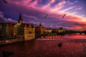 Picture Prague Czech Republic Houses Sky Sunrise and sunset Canal Clouds Cities