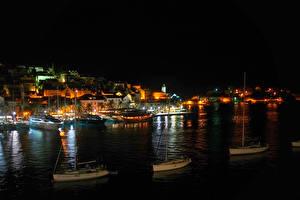 Picture Croatia Houses Sea Berth Night island Hvar Cities
