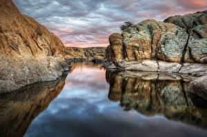 Bilder USA See Felsen Wolke HDR Arizona, Prescott, Watson lake Natur