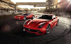 Pictures Ferrari Red Front Two Luxury 512BB, F12, Berlinetta Supercars Cars
