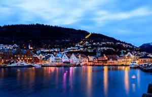 Wallpapers Norway Sky Berth Sea Houses Bergen Cities