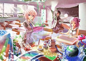 Tapety na pulpit Troje 3 Uczennica Szkolna ławka kyaro Anime Dziewczyny