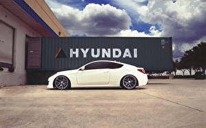 Pictures Hyundai Side White Clouds genesis Cars