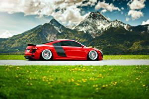 Wallpapers Mountains Audi Grass Clouds Side Red R8 automobile