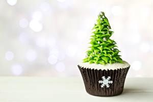 Bilder Süßware Neujahr Törtchen Hautnah Cupcake Tannenbaum Schneeflocken das Essen