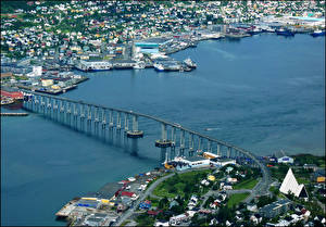 Image Norway Houses River Bridge From above  Cities