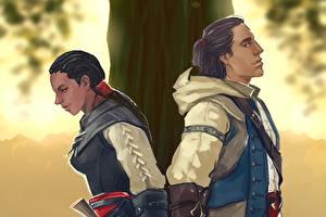 Images Assassin's Creed 3 Man Painting Art Brunette girl liberations Connor Aveline Girls