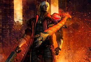 Papel de Parede Desktop Devil May Cry Homem Fogo Monstro Dante lucifer dante videojogo 3D_Gráfica