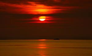 Fotos Sonnenaufgänge und Sonnenuntergänge Meer Himmel Horizont Sonne Natur