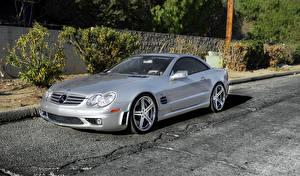 Desktop wallpapers Mercedes-Benz Silver color SL65 automobile