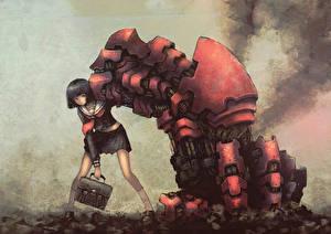 Tapety na pulpit Robot Uczennica blackball Anime Dziewczyny