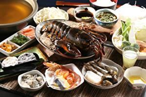Fotos Meeresfrüchte Hummerartige Garnelen Tischtermine Hautnah Teller