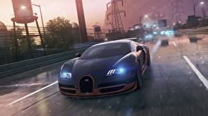 Wallpapers Need for Speed BUGATTI Street Front Headlights Black Luxury Most wanted 2012 Veyron Super Sport Cars