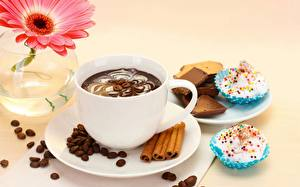 Pictures Gerberas Coffee Drinks Cake Sweets Closeup Grain Cup Saucer Food Flowers