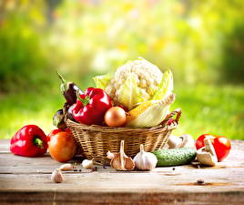 Picture Vegetables Cabbage Bell pepper Allium sativum Onion Cucumbers Corn Wicker basket Food