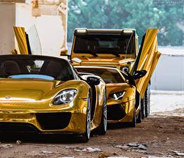 Hintergrundbilder Porsche Lamborghini Mercedes-Benz Gold Farbe Vorne Auto Scheinwerfer Drei 3 918 Aventador 6x6 Autos