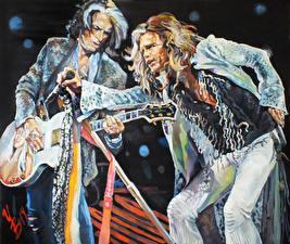 Images Aerosmith Painting Art Men Two Guitar Steven, Joe Music