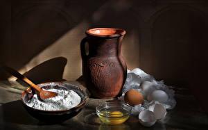 Hintergrundbilder Stillleben Nahaufnahme Kanne Eier Löffel das Essen