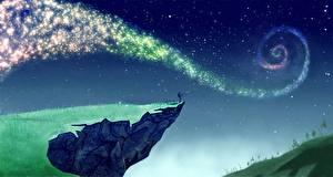 Bureaubladachtergronden Visvangst Ster Hemelgewelf Geschilderde klif landform Nacht Fantasy Ruimte