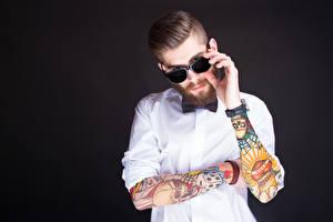 Picture Men Eyeglasses Beard Tattoos Hands