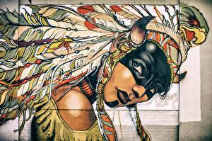 Fotos Graffiti Federn Maske Gezeichnet Federhaube Indianer Mauer Horn Mädchens