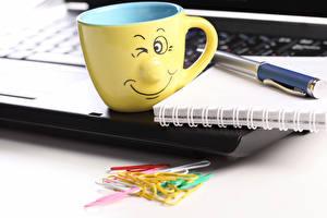 Image Smilies Closeup Cup Laptops