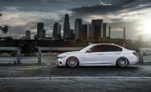 Image Skyscrapers BMW Side White F30 328i Alpine Cars Cities