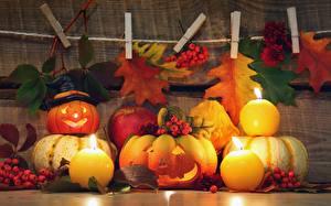 Image Autumn Pumpkin Candles Apples Halloween Foliage Food