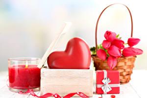 Bilder Tulpen Kerzen Großansicht Valentinstag Feiertage Herz Geschenke Weidenkorb Blüte