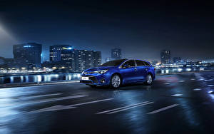 Images Toyota Houses Night Blue 2015 Avensis SW Cars Cities