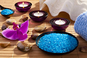 Wallpapers Stones Orchids Candles Closeup Plate Spa Salt