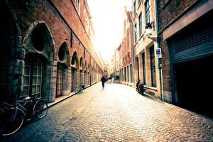 Picture Belgium Building Bruges Bicycle Street Cities