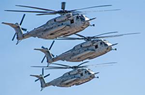 Bilder Hubschrauber Flug Drei 3 Sikorsky, CH-53E, Sea Stallion Luftfahrt