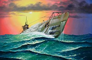 Pictures Submarines Painting Art U-571 in heavy seas. January 28, 1944 Army