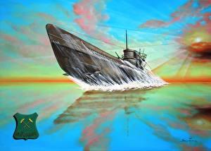 Photo Submarines Painting Art U-667 Good Luck military