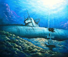 Pictures Submarines Painting Art U-201