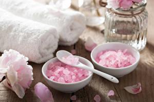 Picture Stones Closeup Towel Spa Petals Spoon Pink color Salt Bowl