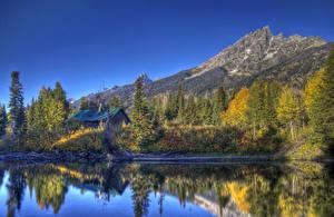Fotos USA Park Gebirge Flusse HDR Bäume Grand Teton Natur