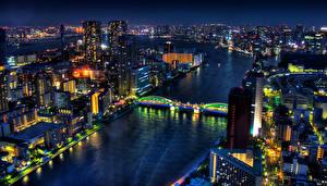 壁纸、、日本、住宅、川、橋、東京都、メガロポリス、夜、都市