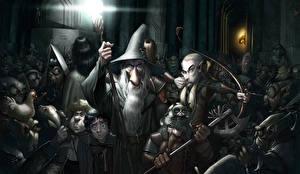 Bakgrunnsbilder Ringenes herre Malte Kriger Bueskytter Dverg Alver Hatt Stridsøks Frodo Baggins, Aragorn, Samwise Gamgee, Gandalf, Gimli, Legolas Film Fantasy
