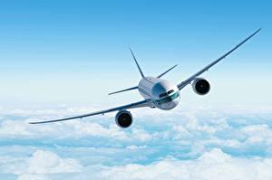 Hintergrundbilder Flugzeuge Himmel Verkehrsflugzeug Boeing Flug Wolke boeing
