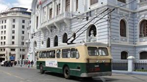 Photo Houses Bus Chile Valparaiso Street Cities