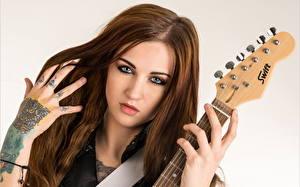Photo Tattoos Hair Hands Face Guitar Glance Girls