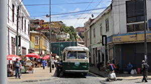 Pictures Houses Chile Bus Valparaiso Street Cities