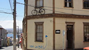Pictures Houses Chile Valparaiso Street Bicycles Cities